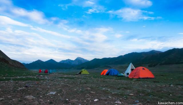 Наш палаточный лагерь перед закатом