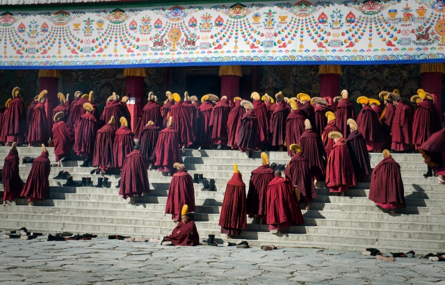 Monks of Labrang monastery, Amdo, Eastern Tibet