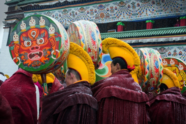 Monks of Labrang monastery with a protector's drum